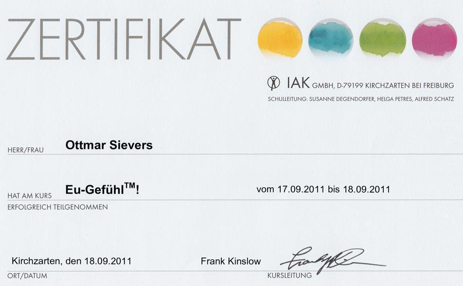 Zertifikat: EuGefuehl - Dr. Frank Kinslow