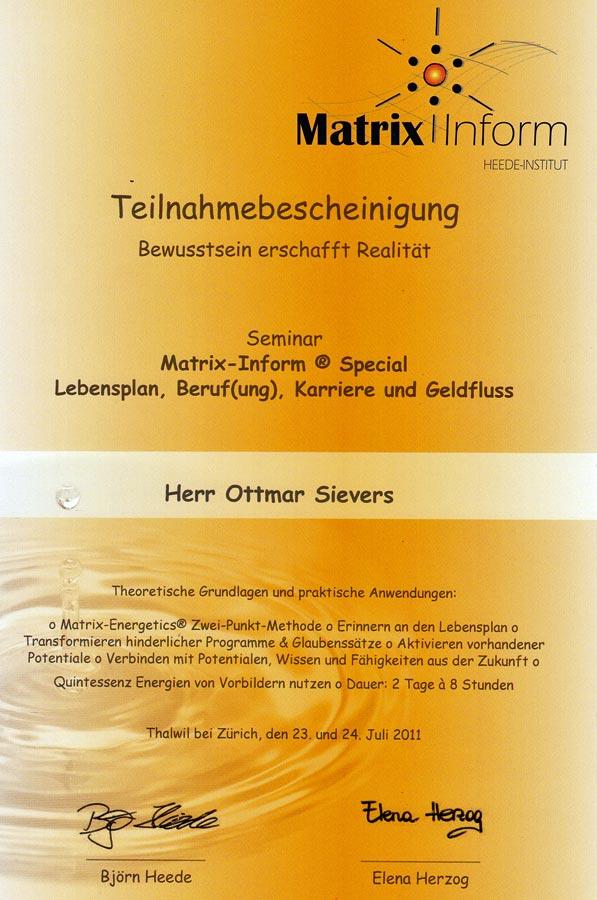 Zertifikat: MatrixInform - Björn Heede