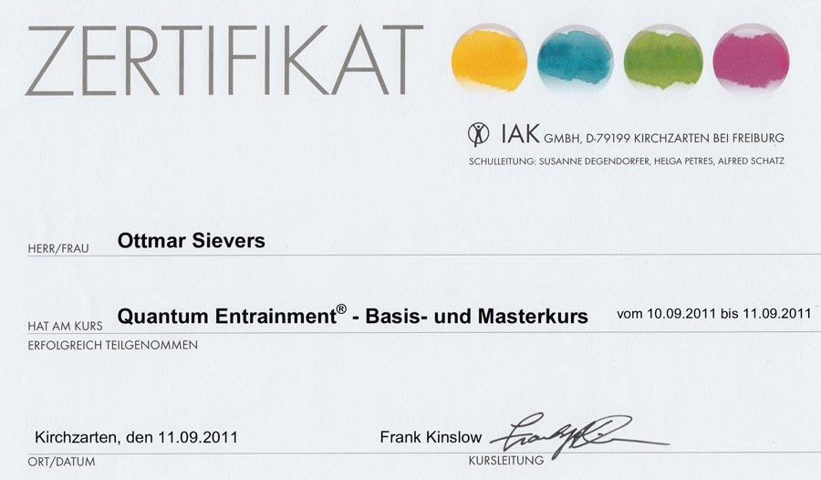 Zertifikat: Quantum-Entrainment - Basic - Master